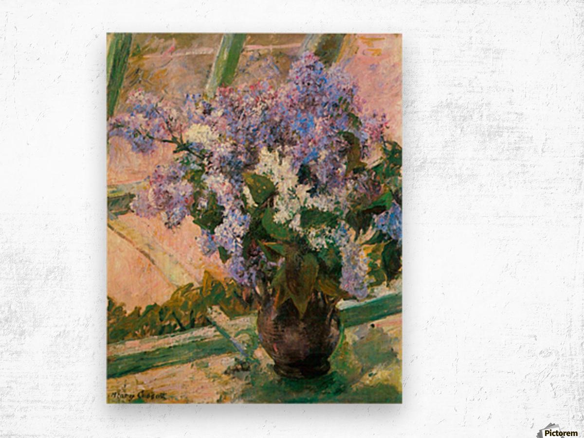 Flowers in the window by Cassatt Wood print