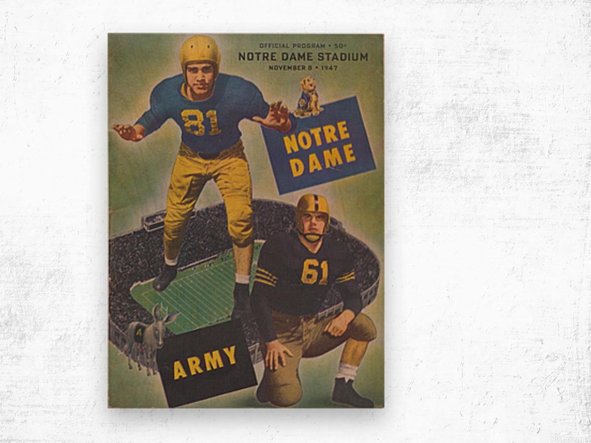 1947 Army vs. Notre Dame Football Program Cover Art_Vintage College Football Program (1) Wood print