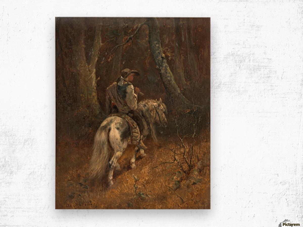 Reiter im Wald Wood print
