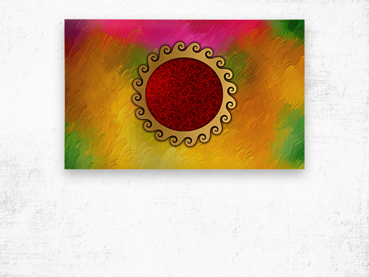 Signs of power and protection amulets sun Wood print