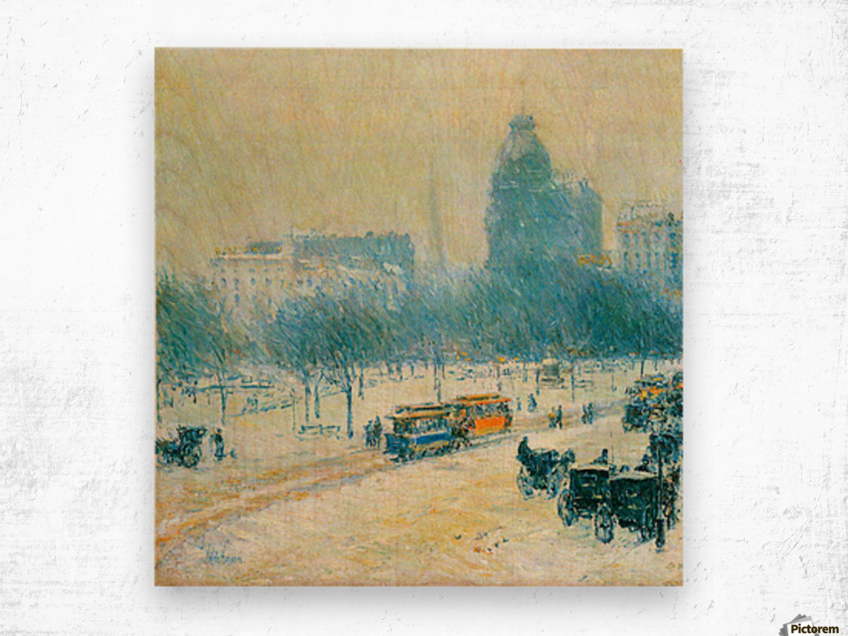 Winter in Union Square by Hassam Wood print