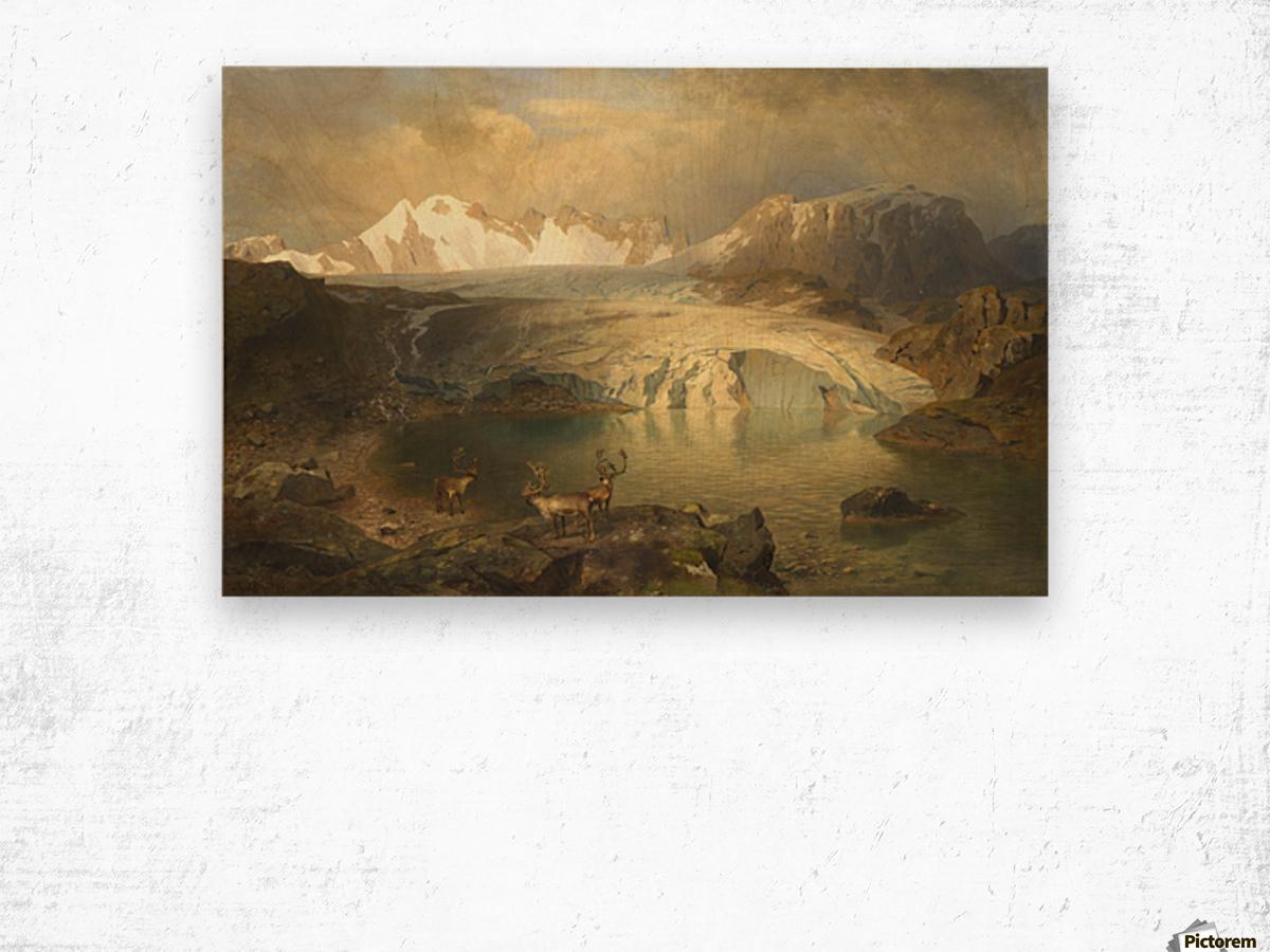 Fjordlandschaft mit Gletscher und Rentieren Wood print