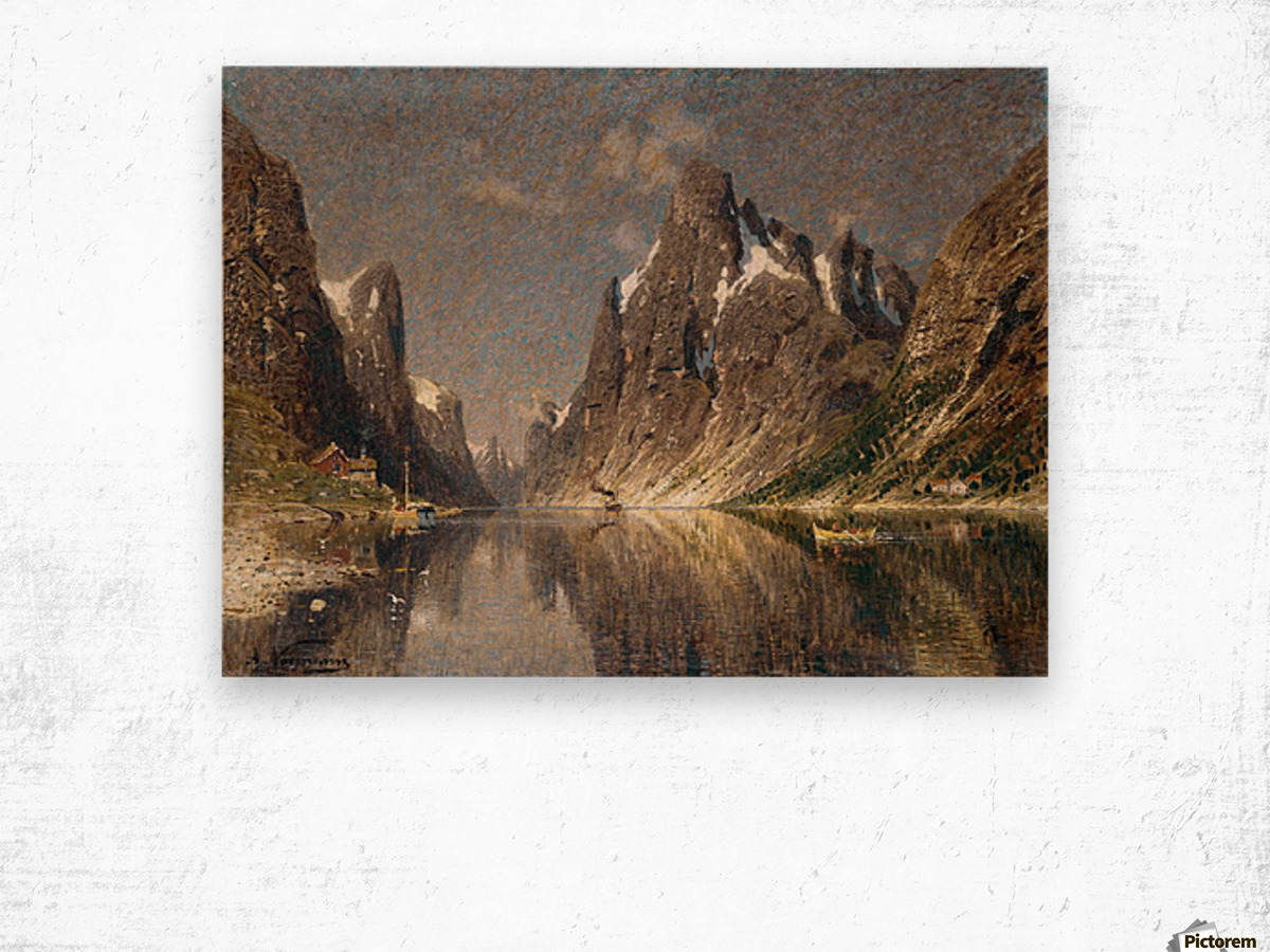 Norwegische Fjordlandschaft Wood print