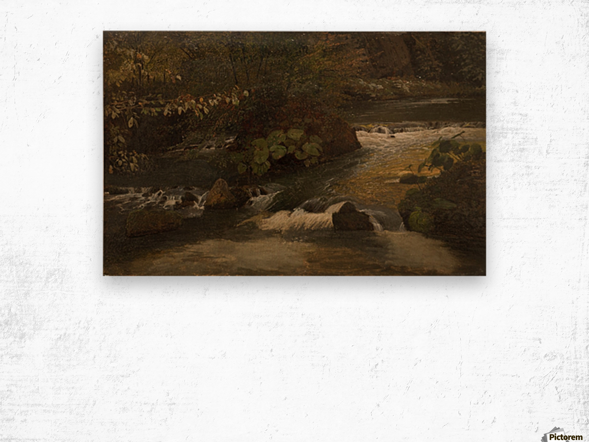 Landscape on a river Wood print