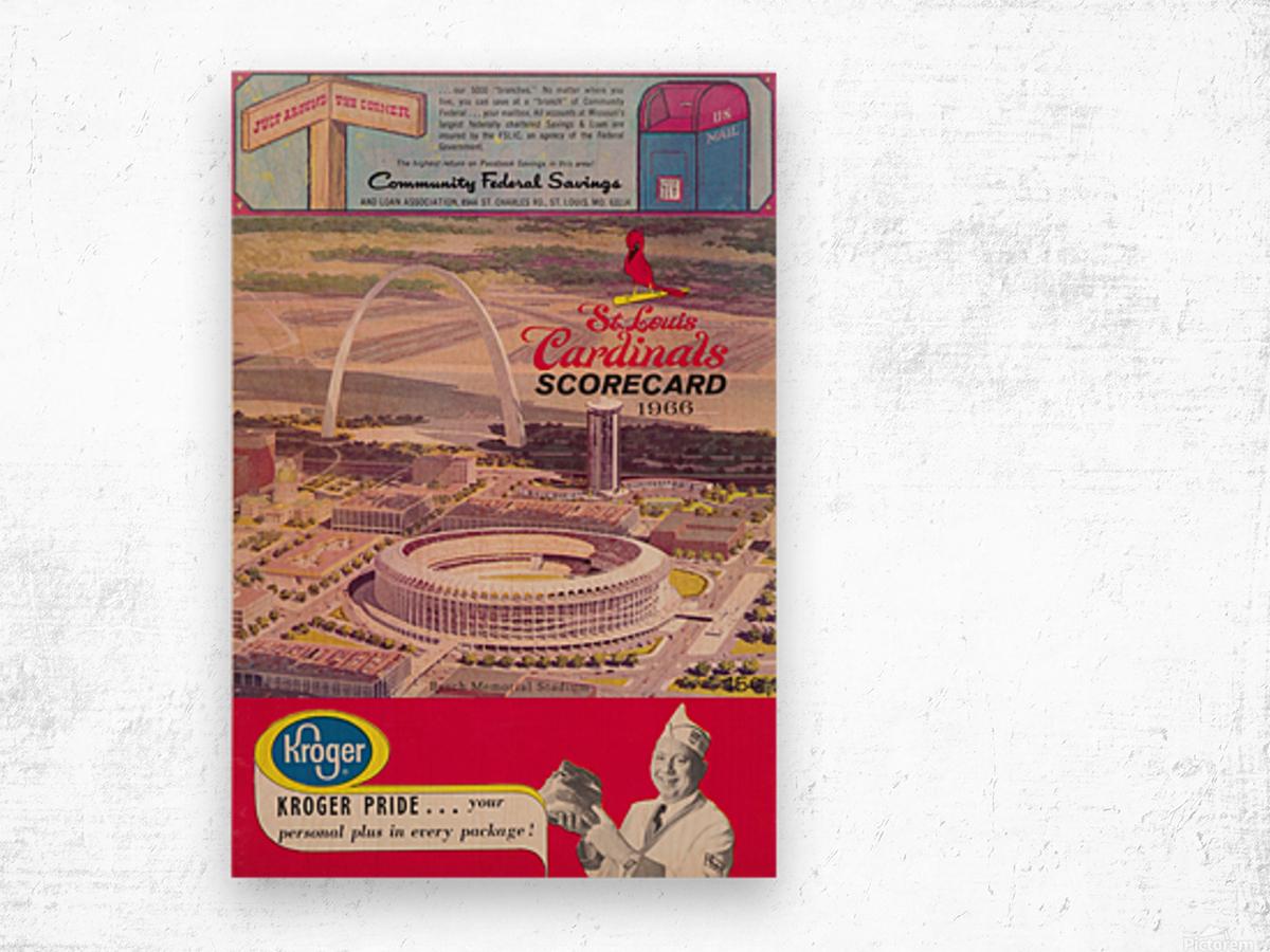 1966 St. Louis Cardinals Opening Game New Busch Stadium Scorecard Kroger Food Ad Poster Wood print