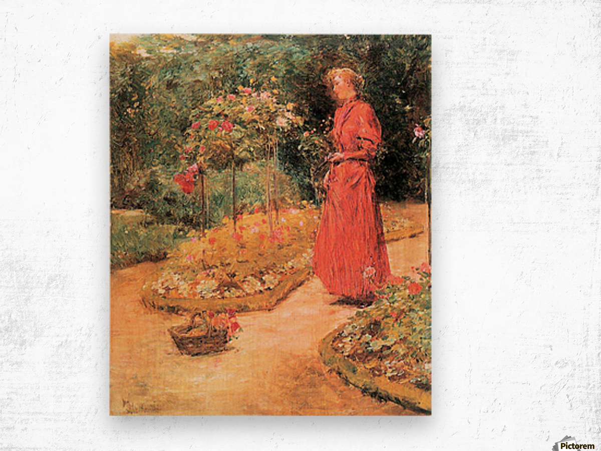 Woman cuts roses in a garden by Hassam Wood print
