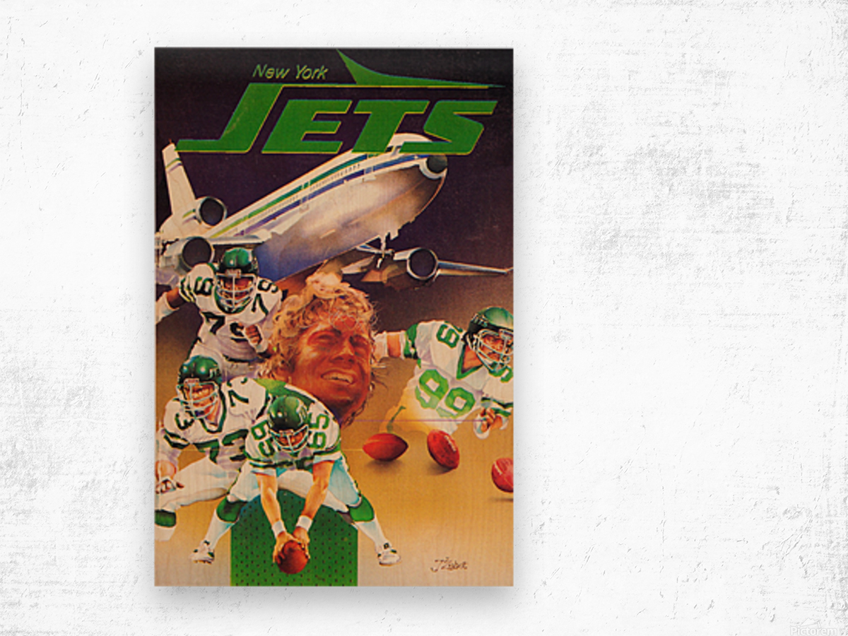 vintage new york jets poster art artist george zebot row one brand sports posters Wood print