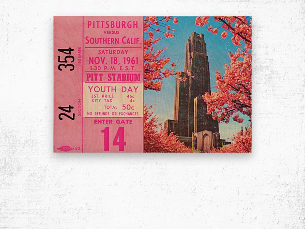 1961 usc pitt panthers football ticket stub poster print metal wood tickets Wood print