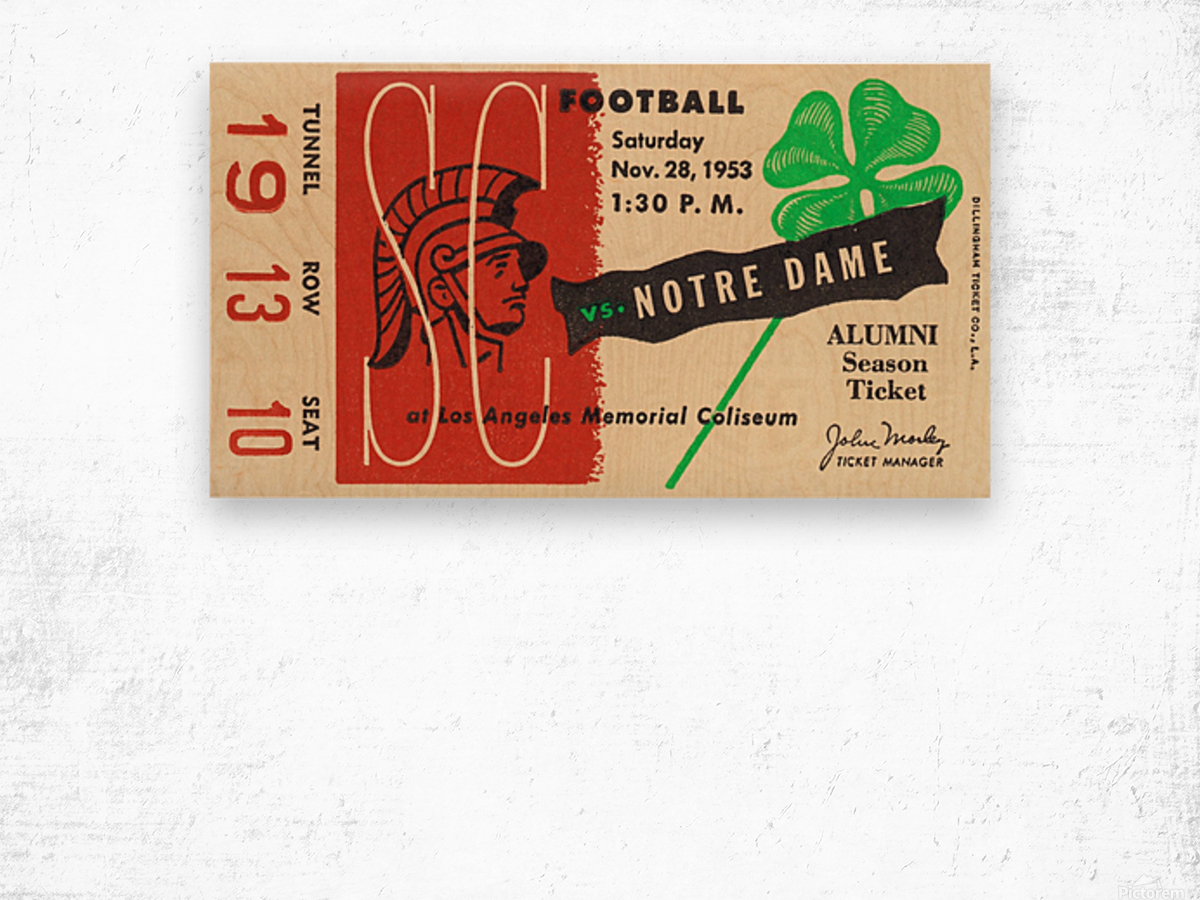 1953 usc notre dame football ticket stub print poster vintage metal sports tickets row 1 Wood print