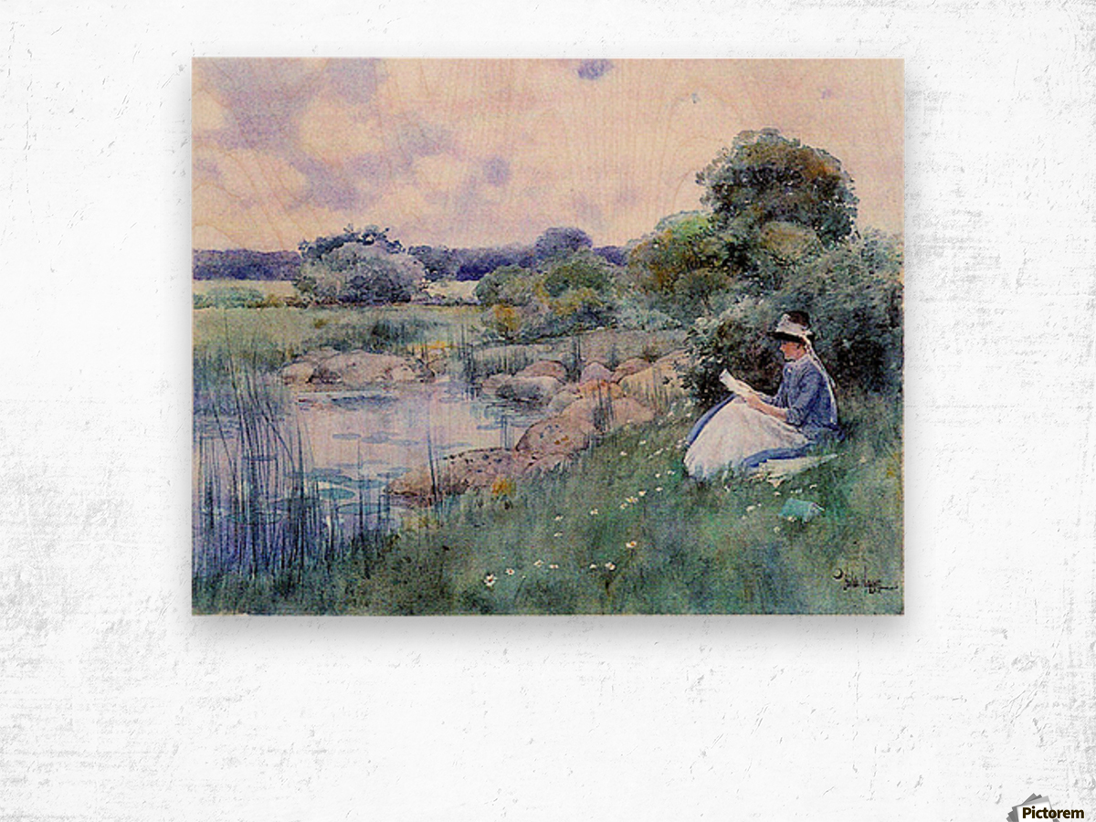 Woman reading by Hassam Wood print