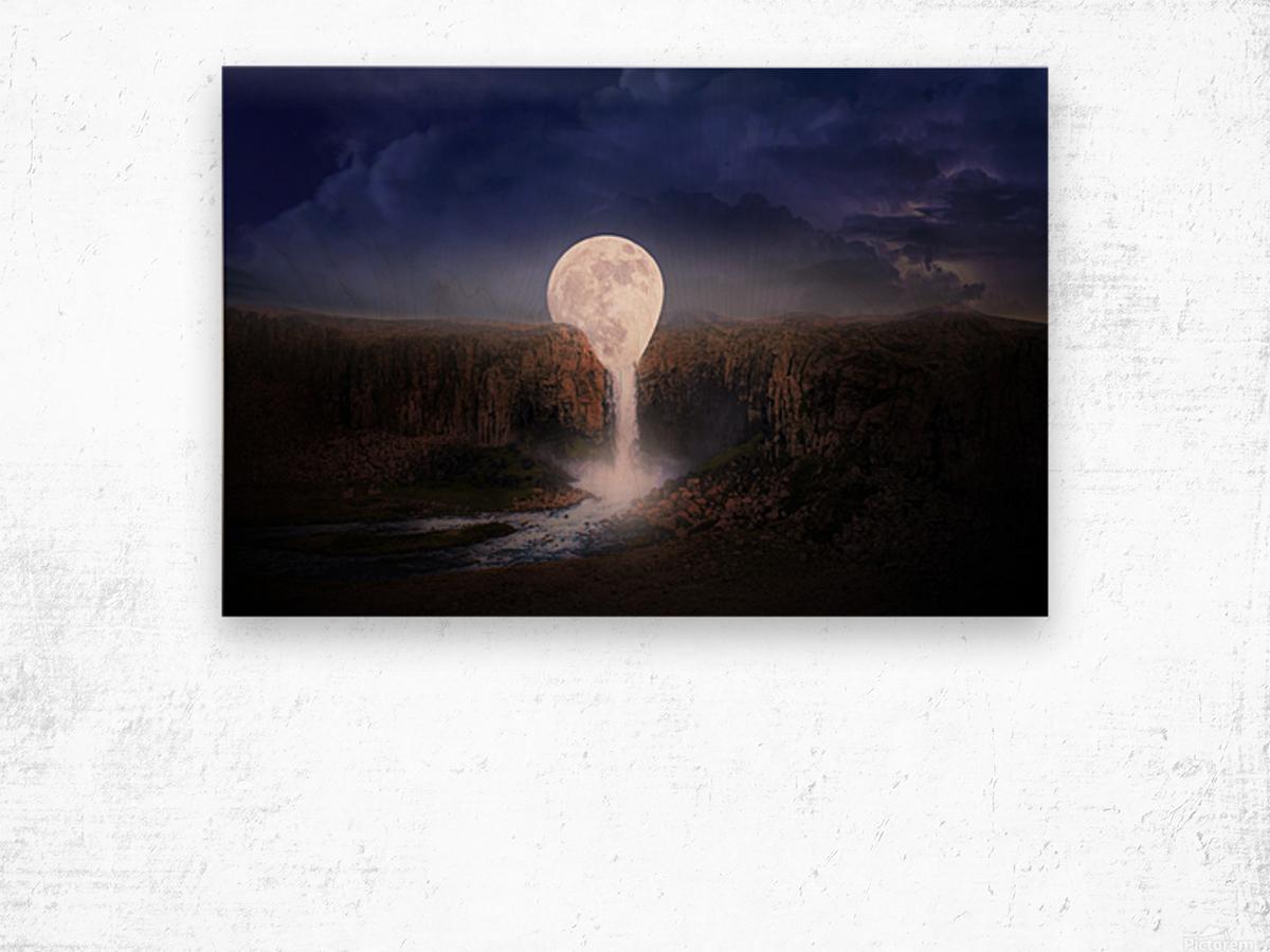 moon landscape night fantasy Wood print