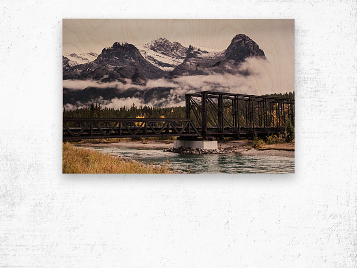 The Engine Bridge Canmore in Fall Wood print