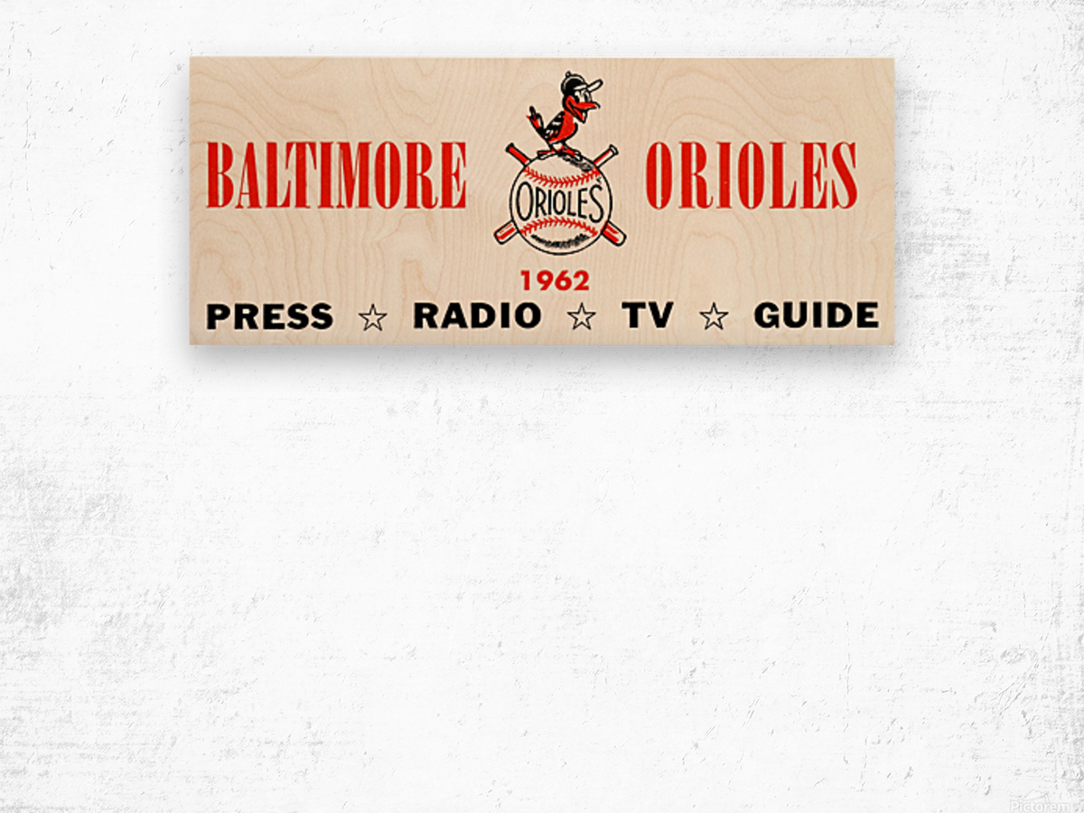 baltimore orioles press guide row one Wood print
