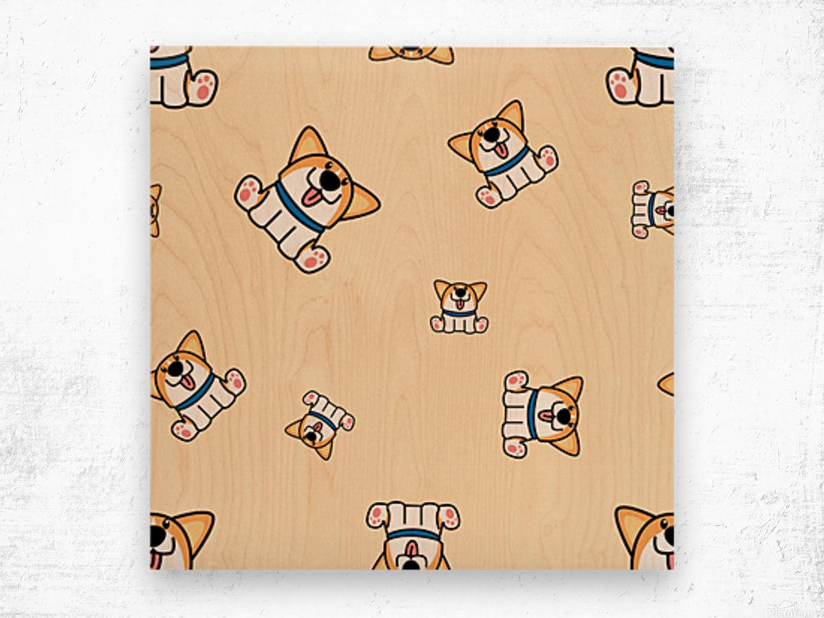 cute welsh corgi puppy sitting seamless pattern Wood print
