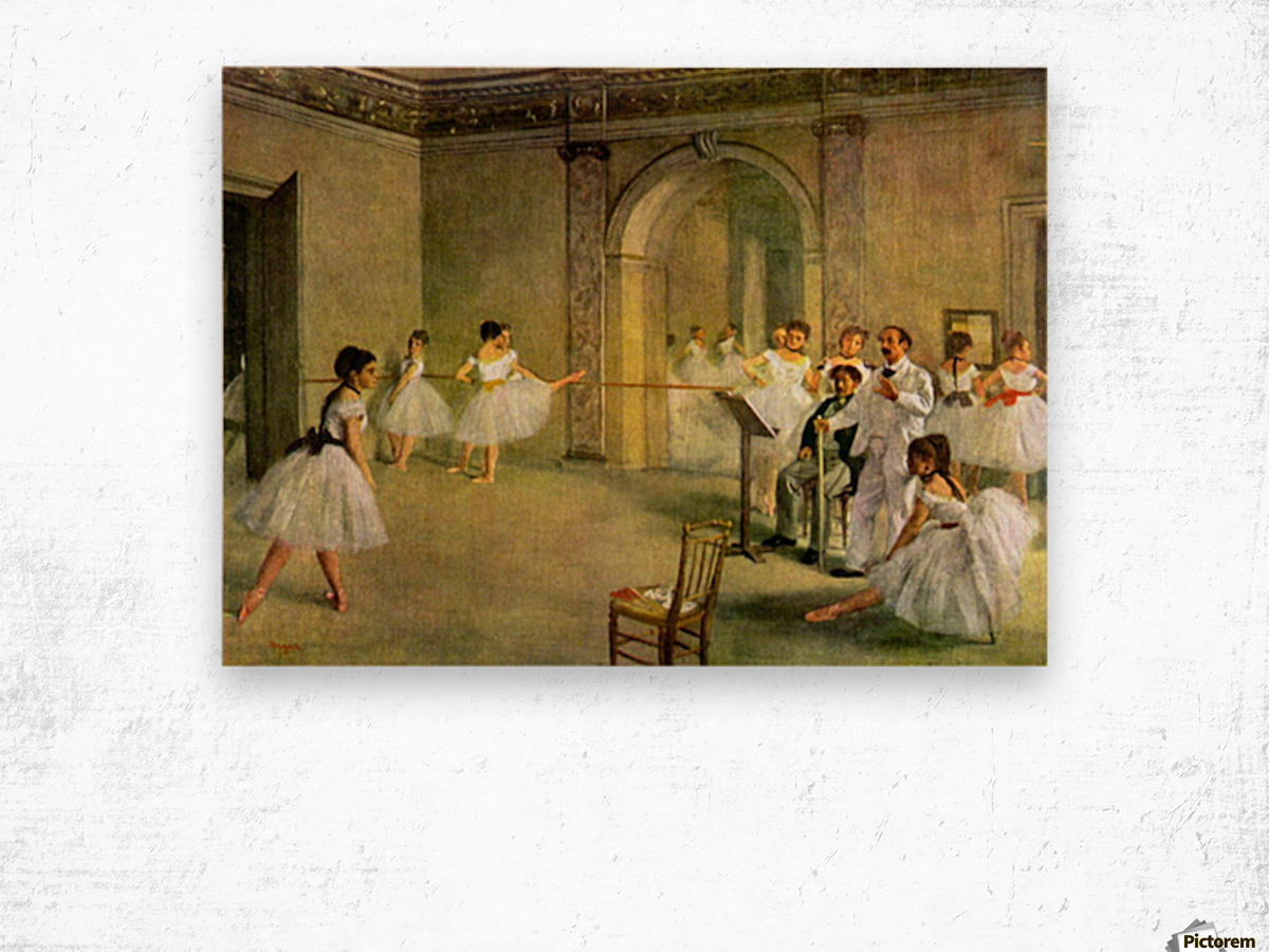 Hall of the Opera Ballet in the Rue Peletier by Degas Wood print