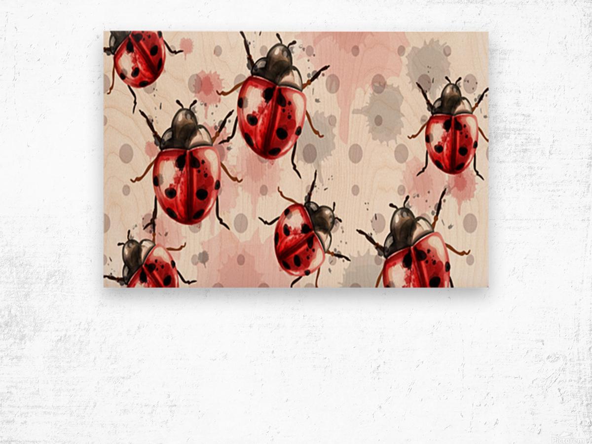 ladybugs pattern texture watercolor_ Wood print