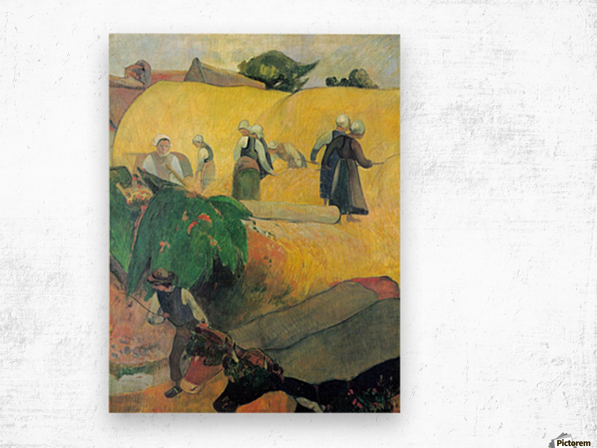 Harvest In Brittany by Gauguin Wood print