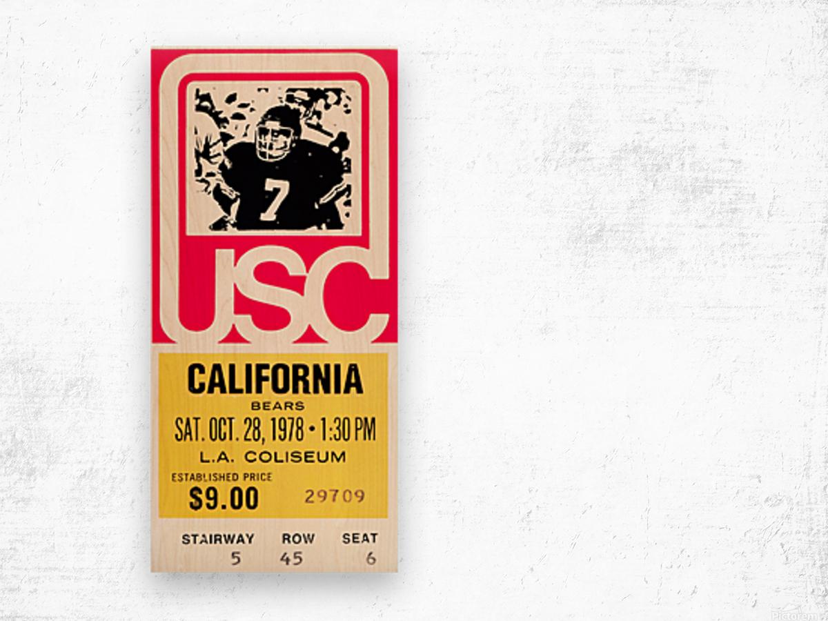 1978 usc trojans california ticket stub art poster Wood print
