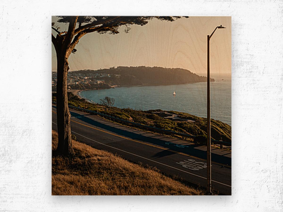 Sunset On San Francisco Coast Wood print