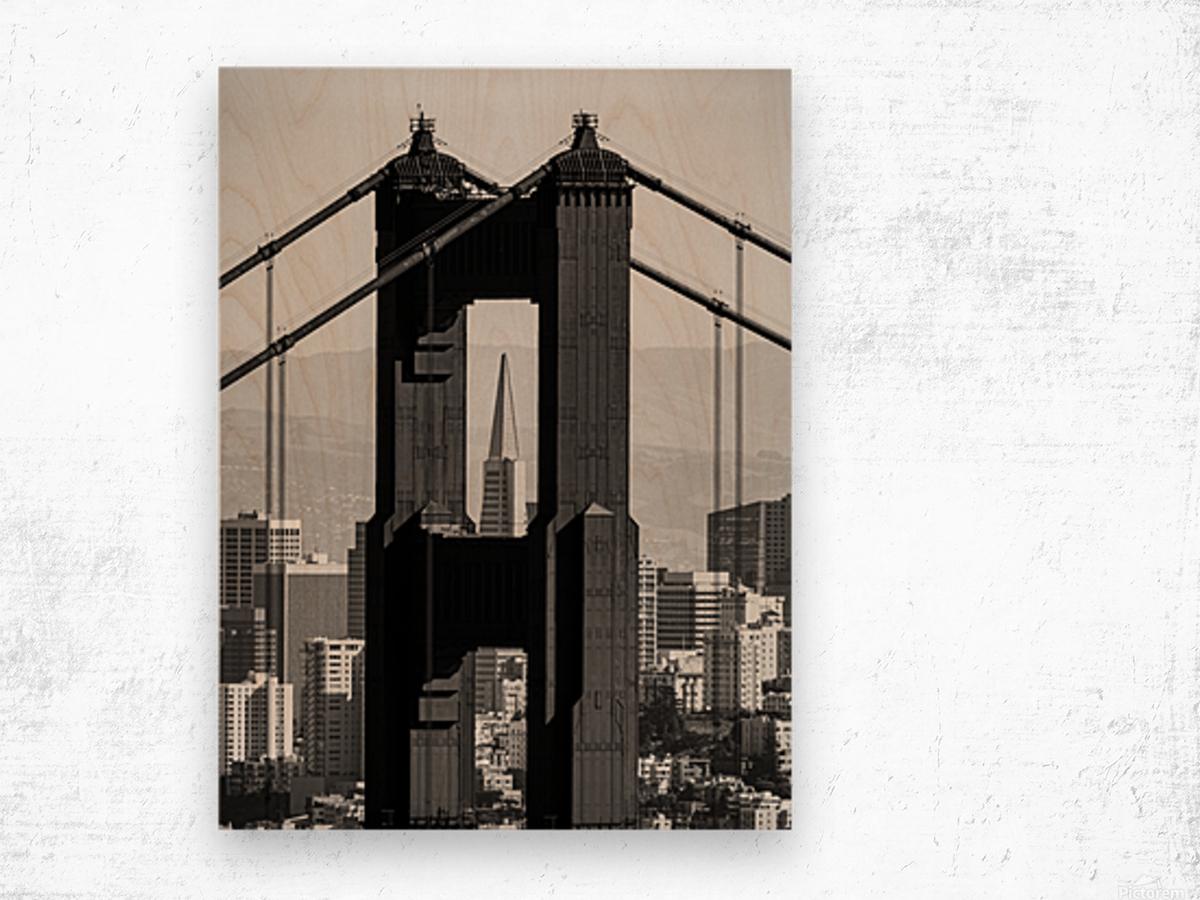 Threading the Needle - Golden Gate Bridge in Black and White Wood print