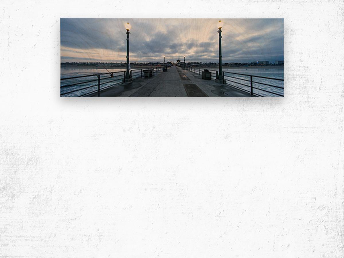 Huntington Beach Pier Panorama Wood print