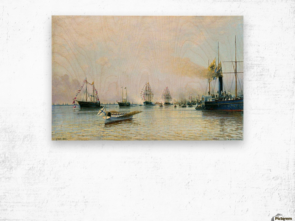 Parade of ships of the Baltic fleet on the occasion of the arrival of the German fleet in 1888 Wood print