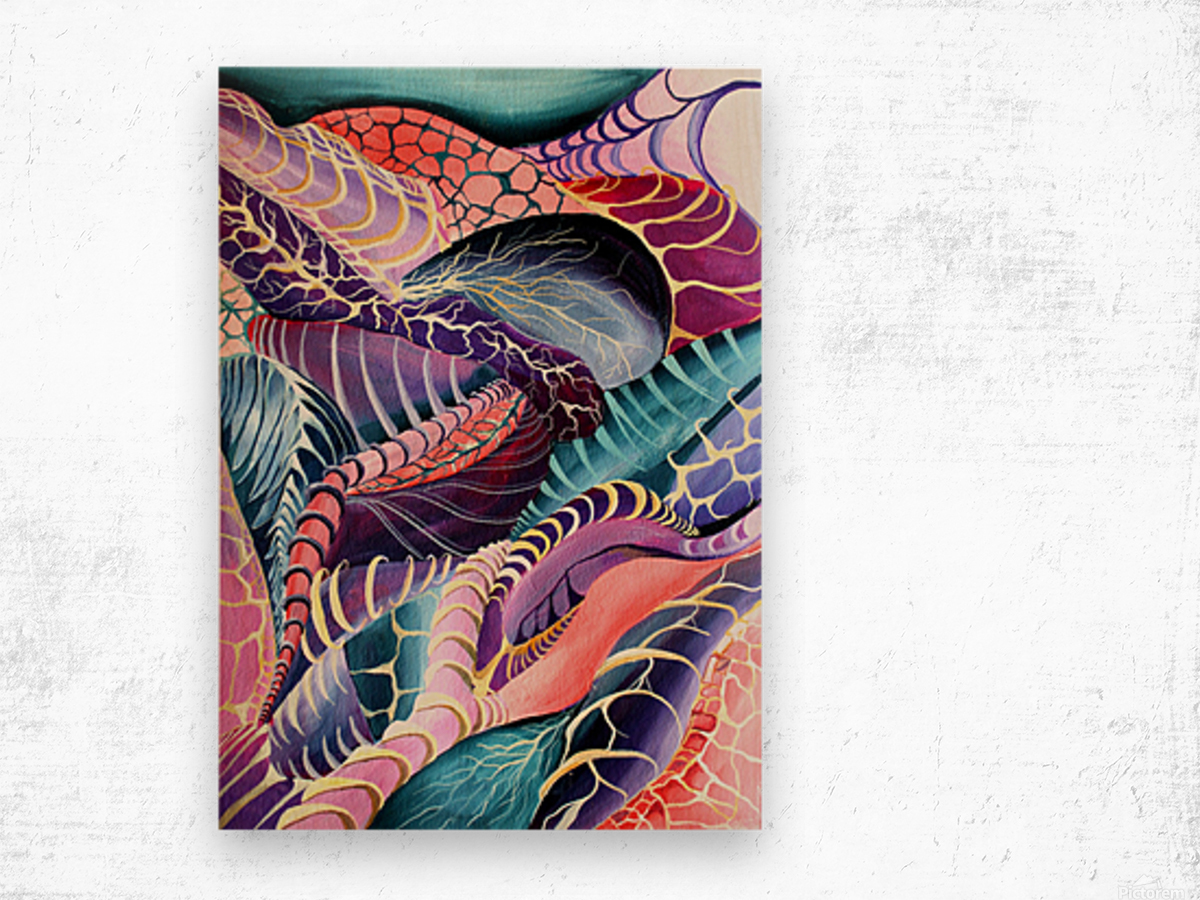 Artdeco Abstract Linear Interlacing Pattern Wood print