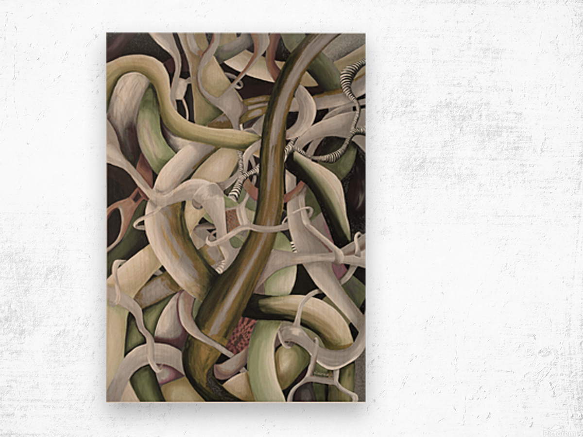 Interlacing Dramatic Contemporary Abstract Wood print