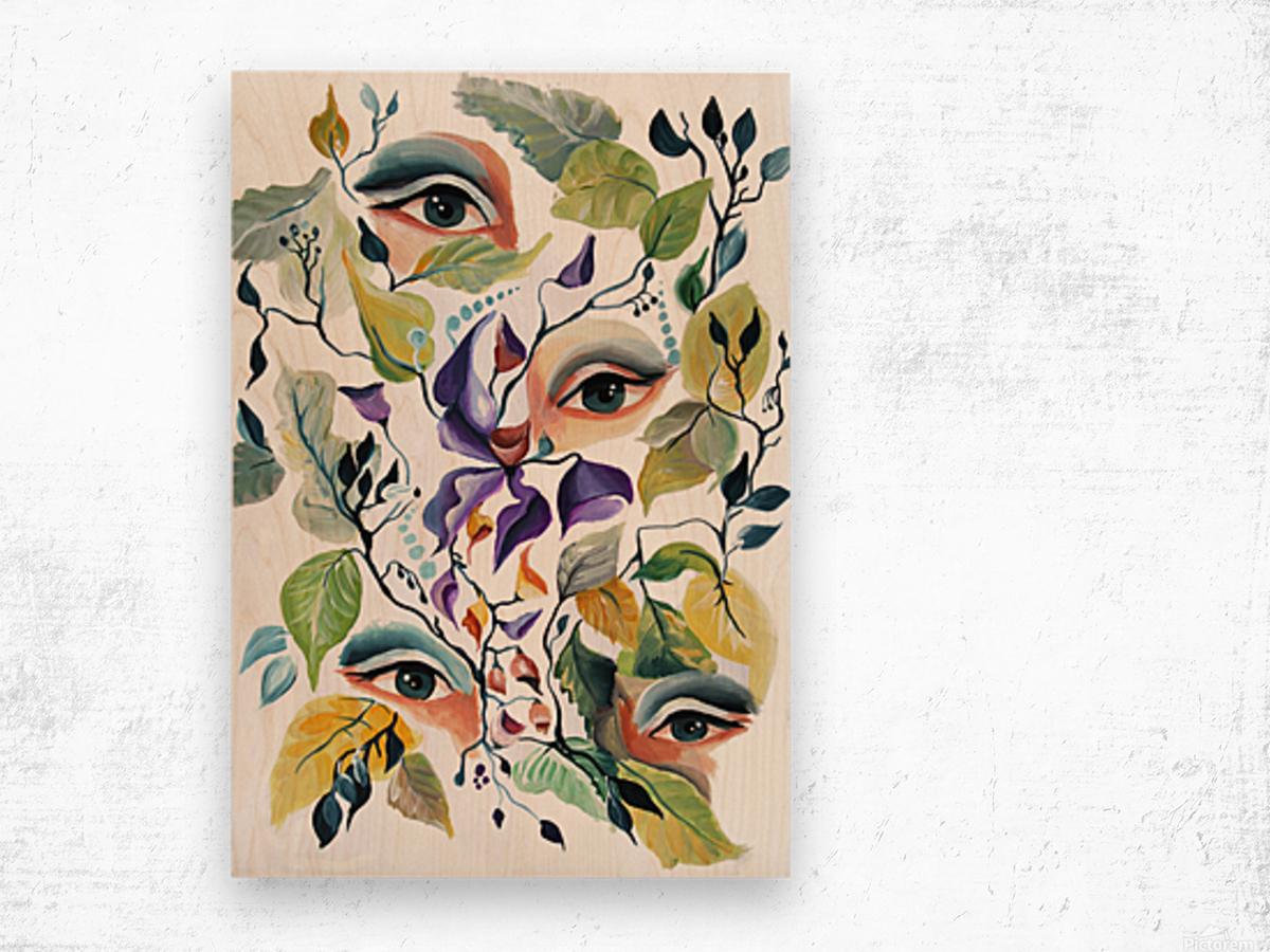 Vintage Retro Feminine Vibe Pattern Wood print