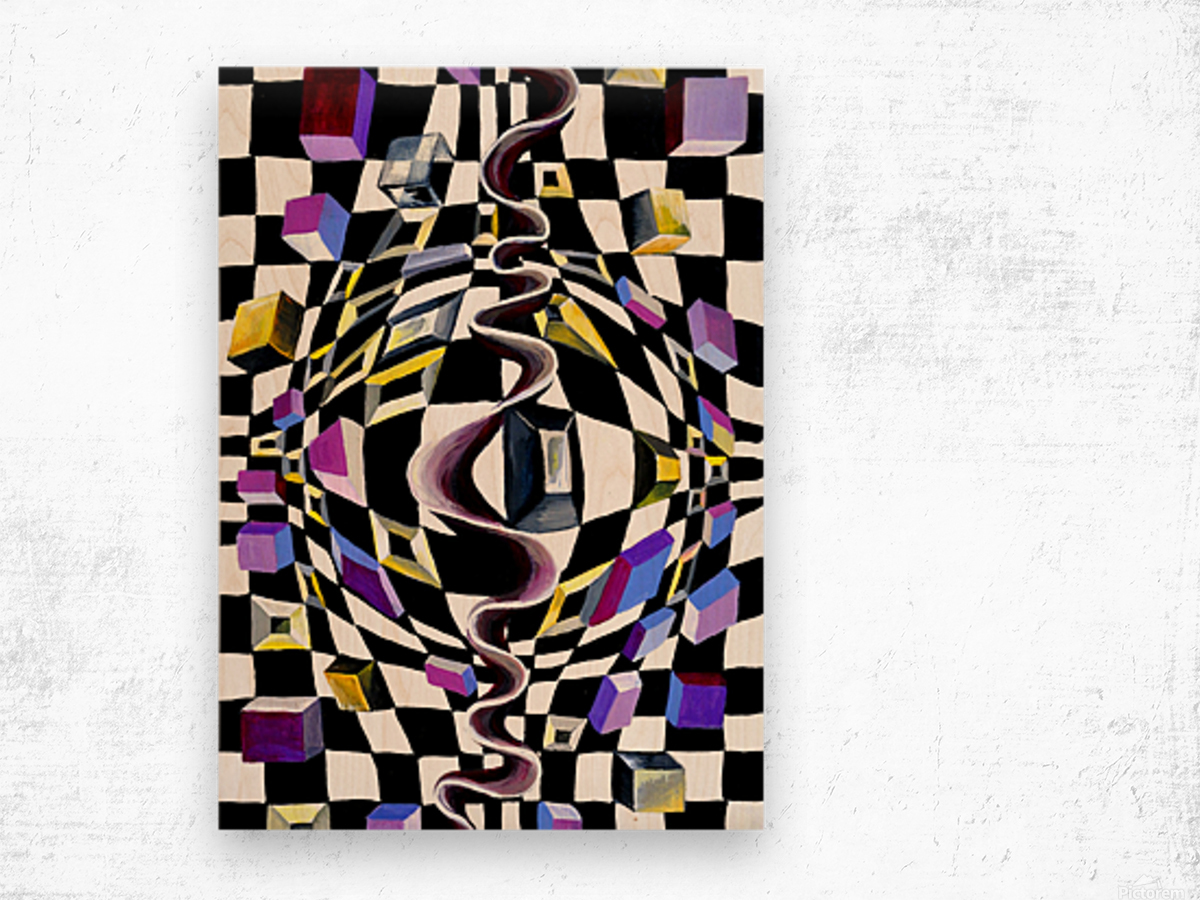 Watercolor Abstract Chess Pattern Wood print