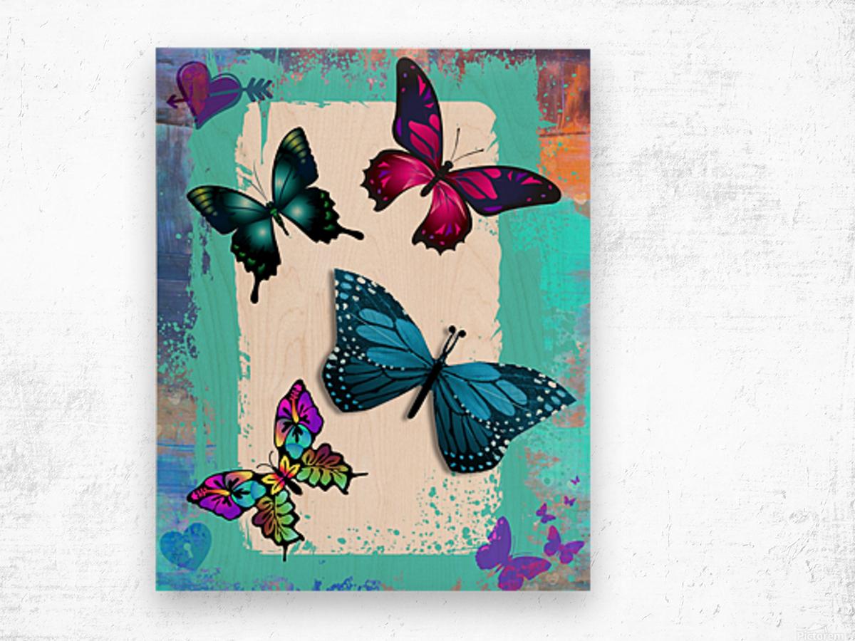 Whimsical Morpho Butterflies in Vivid Colors Wood print
