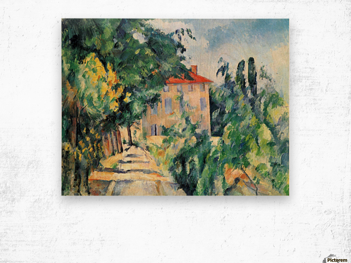 House with Red Roof by Cezanne Wood print