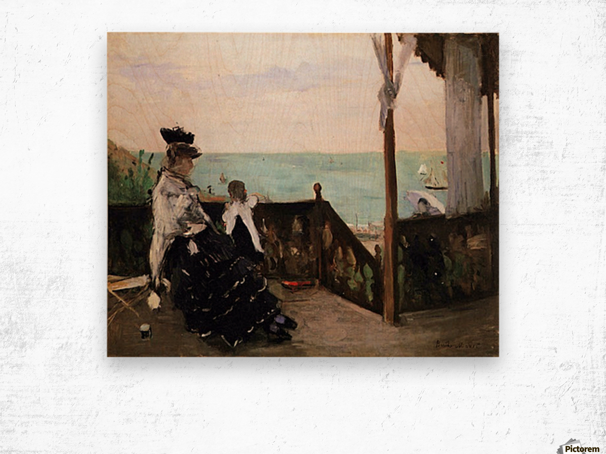 In a villa on the beach by Morisot Wood print