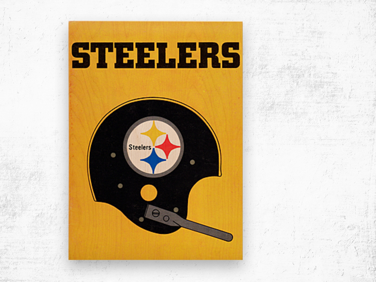 1968 Pittsburgh Steelers Helmet Poster Wood print