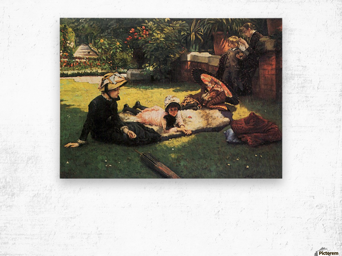 In the sun by Tissot Wood print