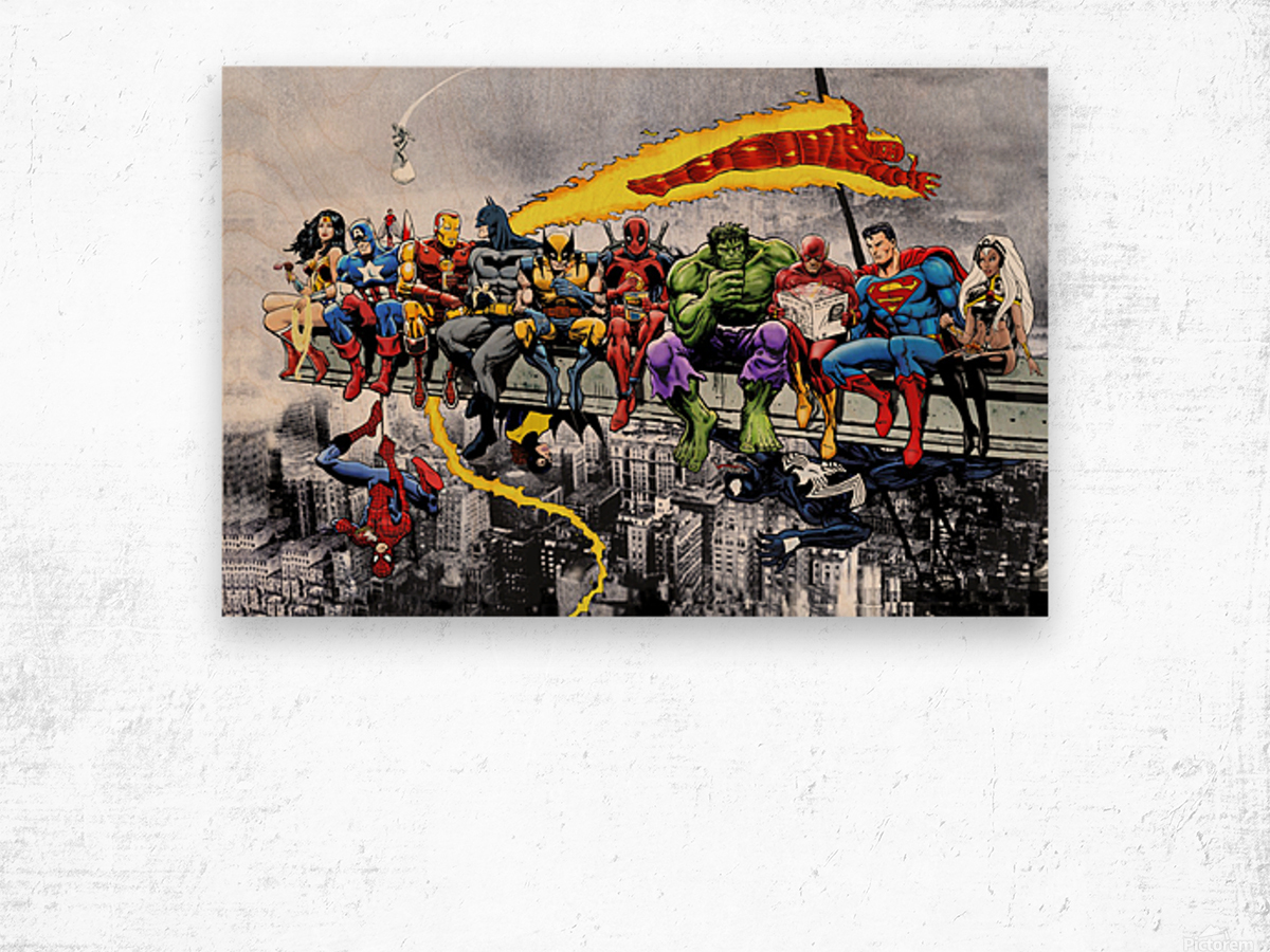 MORE Marvel DC Superheroes Lunch On A Skyscraper New Art Extra Heroes Wood print