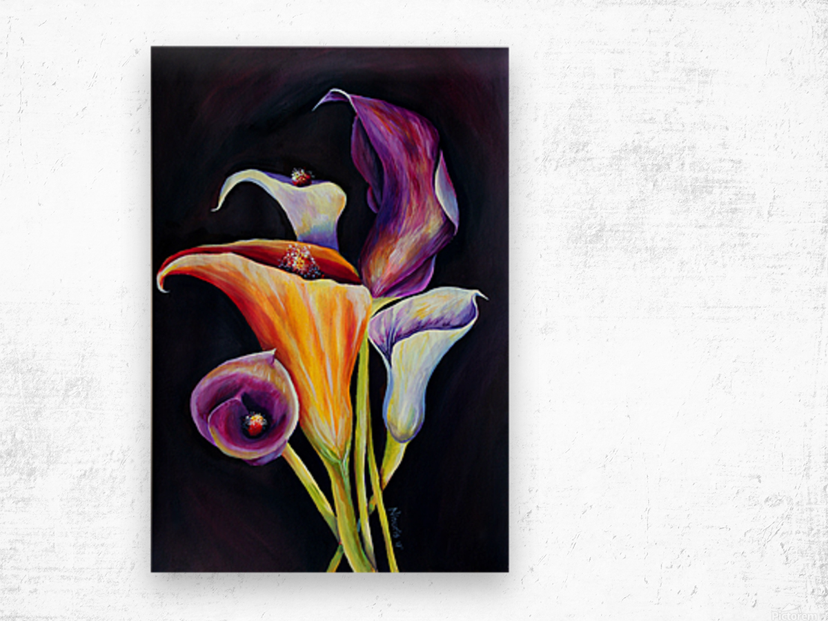 Calla Lilies in Blooming Bouquet Wood print