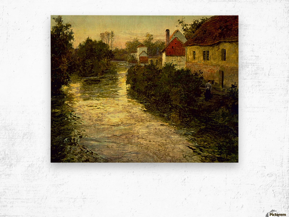 Village on the Bank of a Stream Wood print