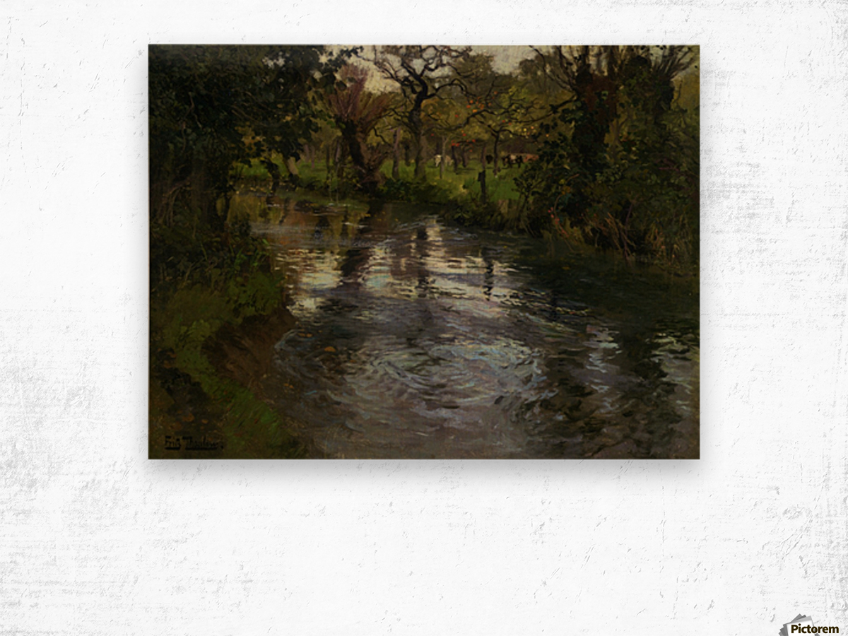 Woodland Scene with a River Wood print