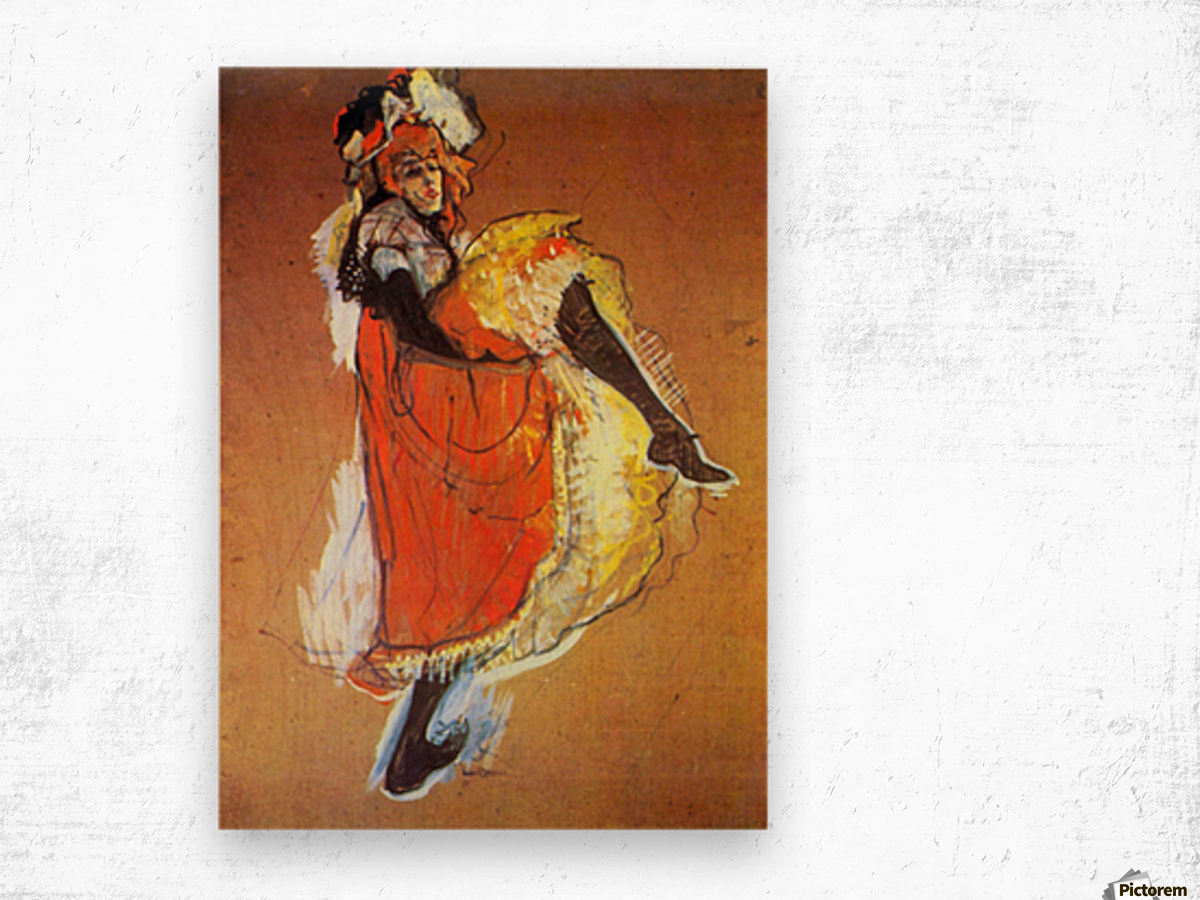 Jane Avril Dancing by Toulouse-Lautrec Wood print