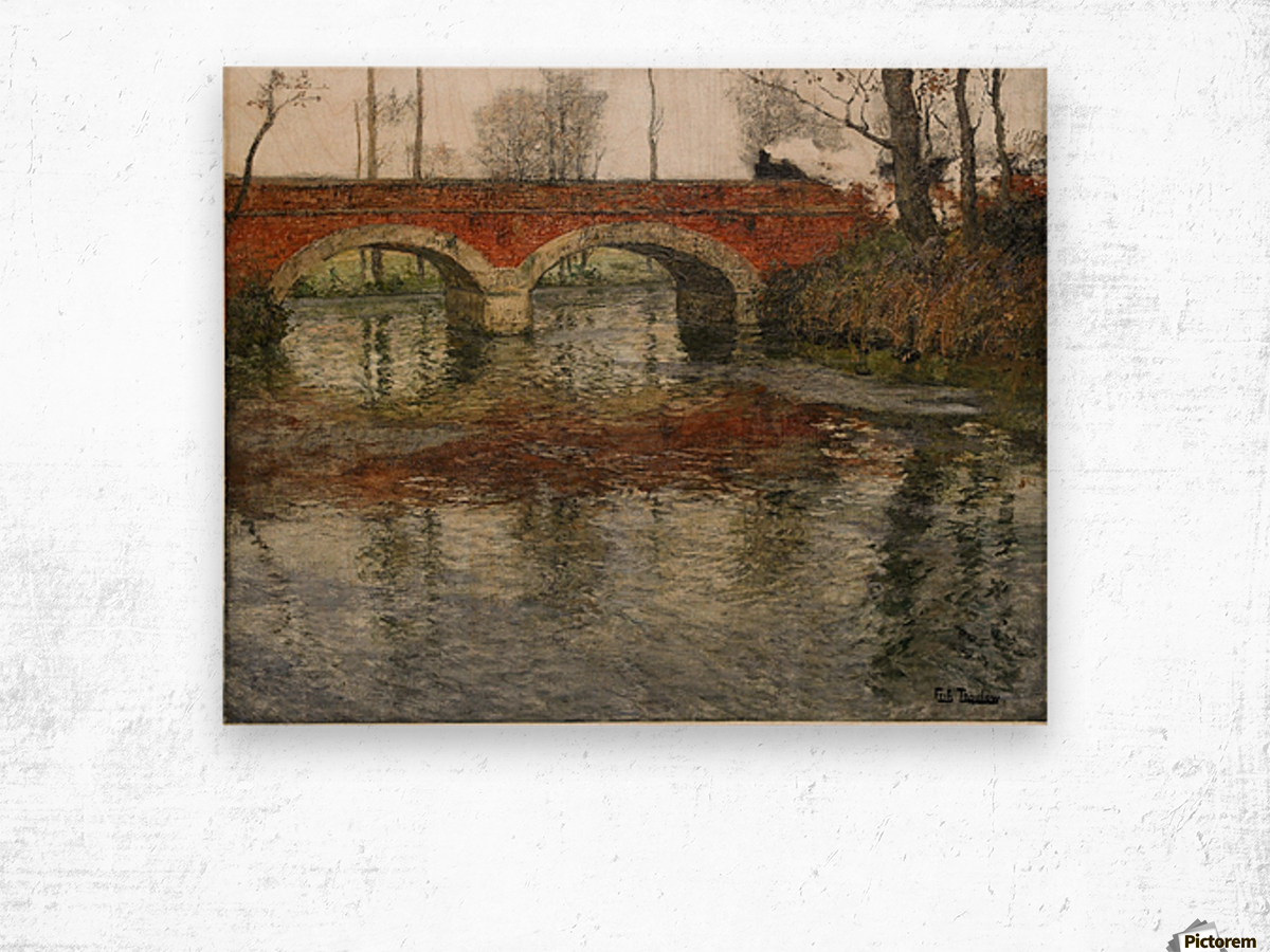 French River Landscape with a Stone Bridge Wood print