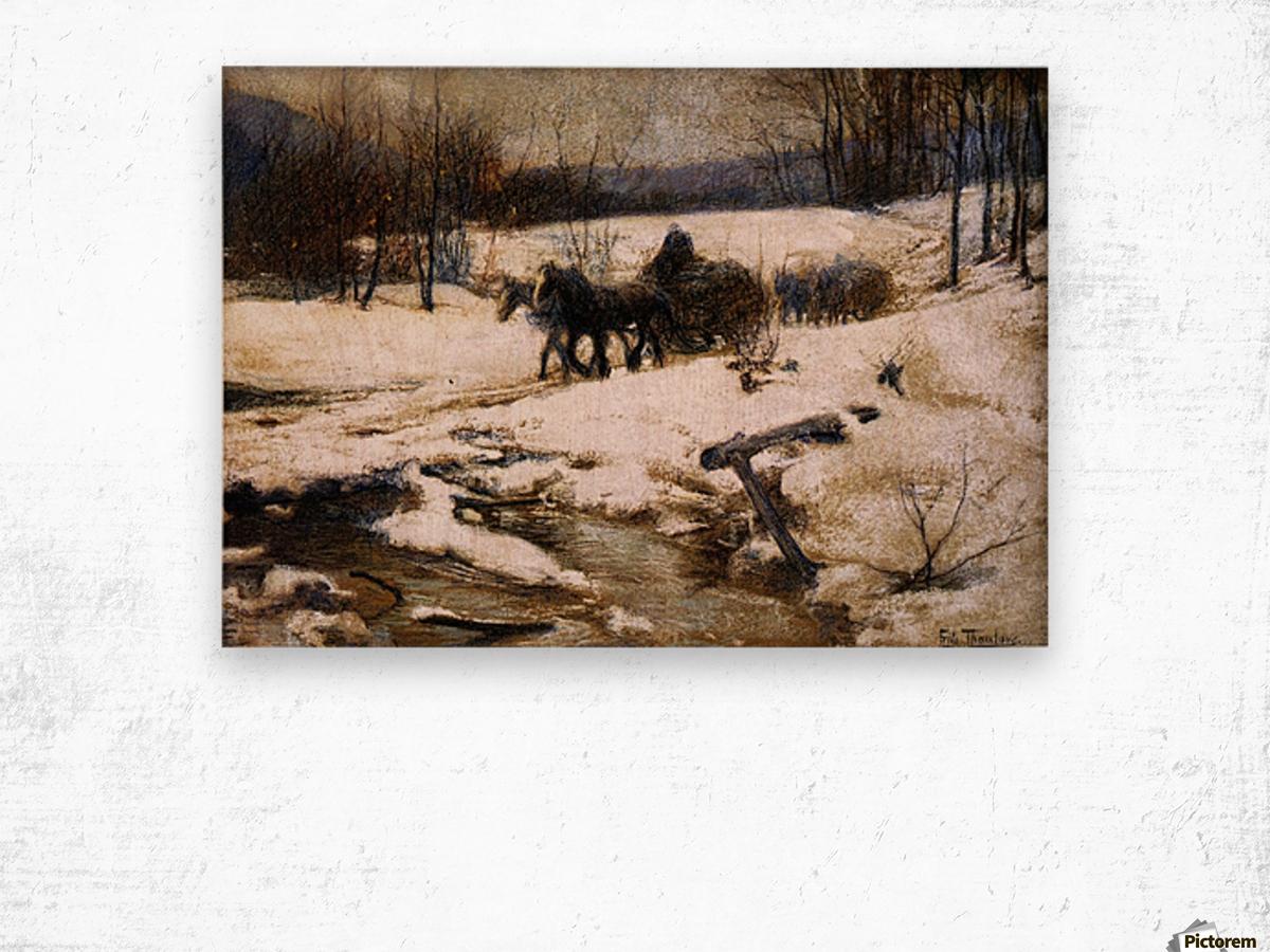 Horse Drawn Carts in Winter Wood print