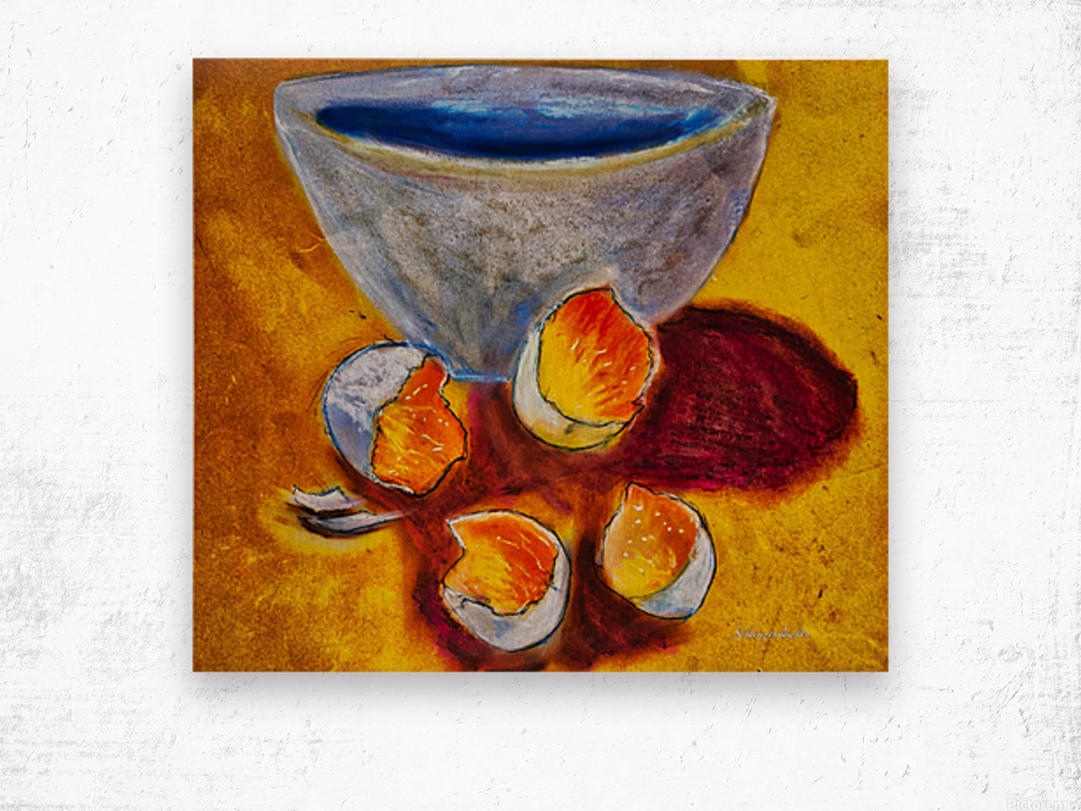 Eggs and a bowl Wood print