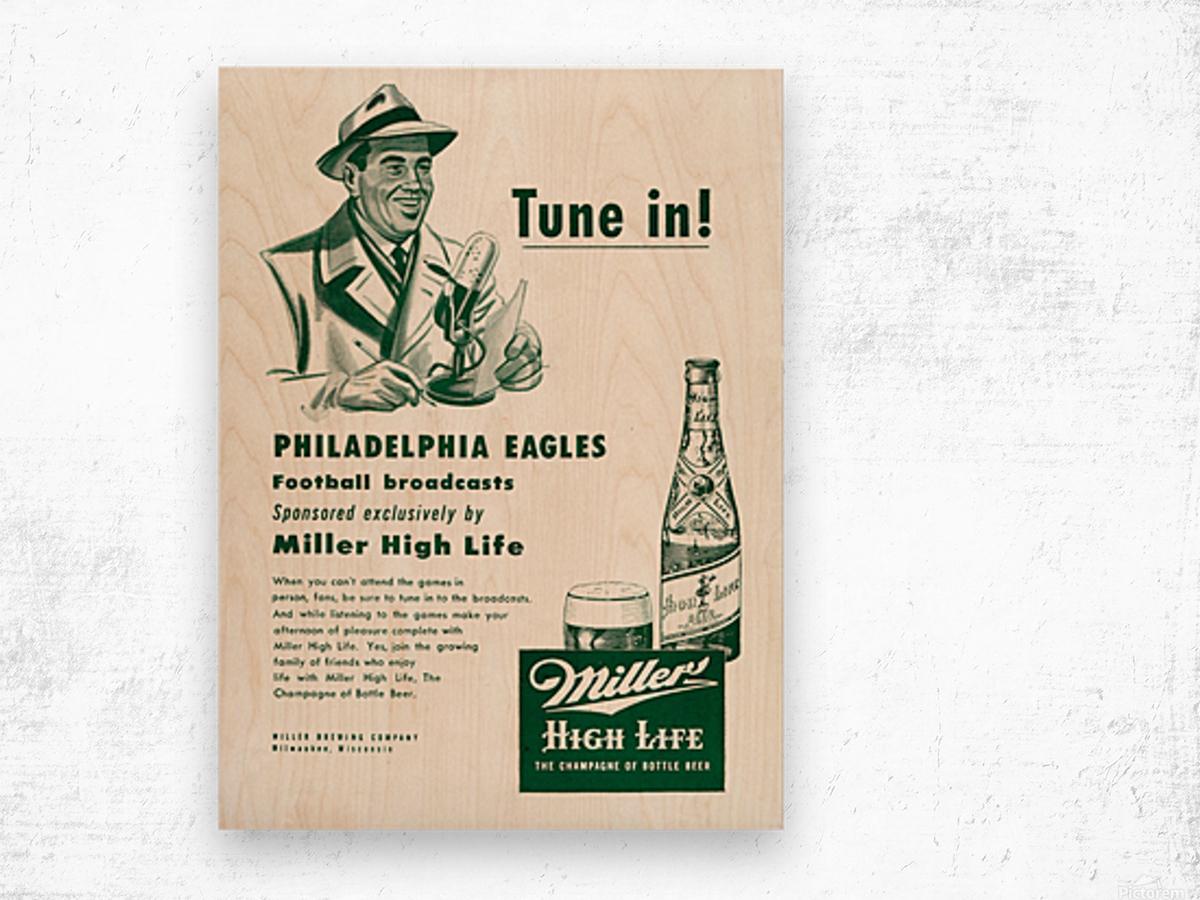 vintage philadelphia eagles miller high life ad poster Wood print