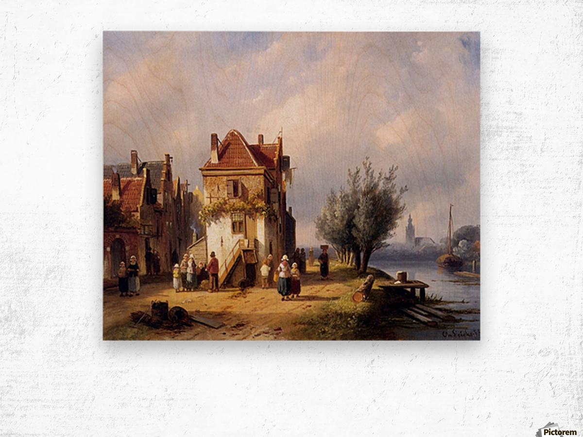 Leickert Charles Henri View on a village near to a river Sun Wood print