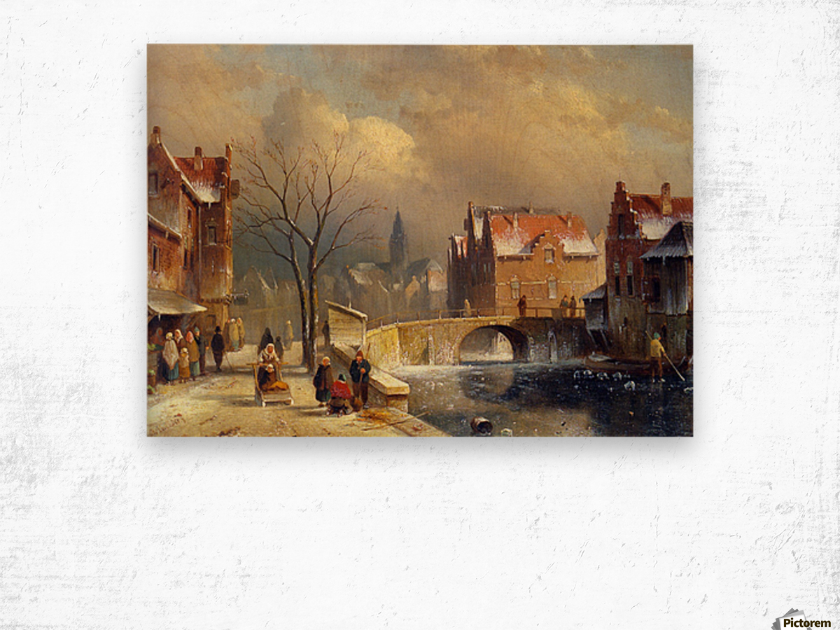 Winter villagers on a snowy street by a canal Wood print