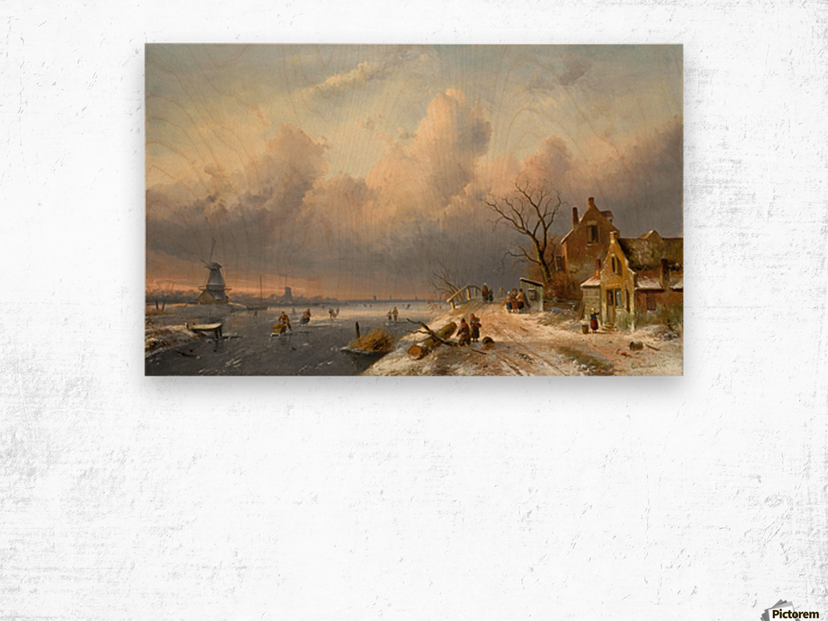 Winter landscape with figures and windmills Wood print