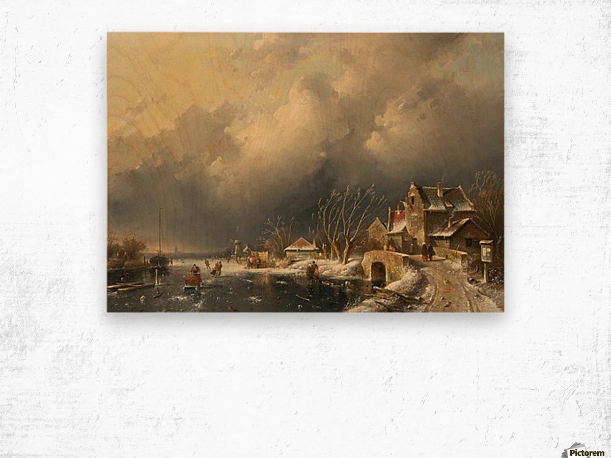 Winter landscape with skaters near a Koek-en-Zopie Wood print