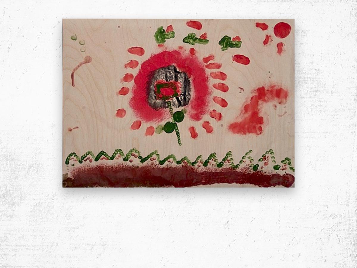 Myona red flower Wood print