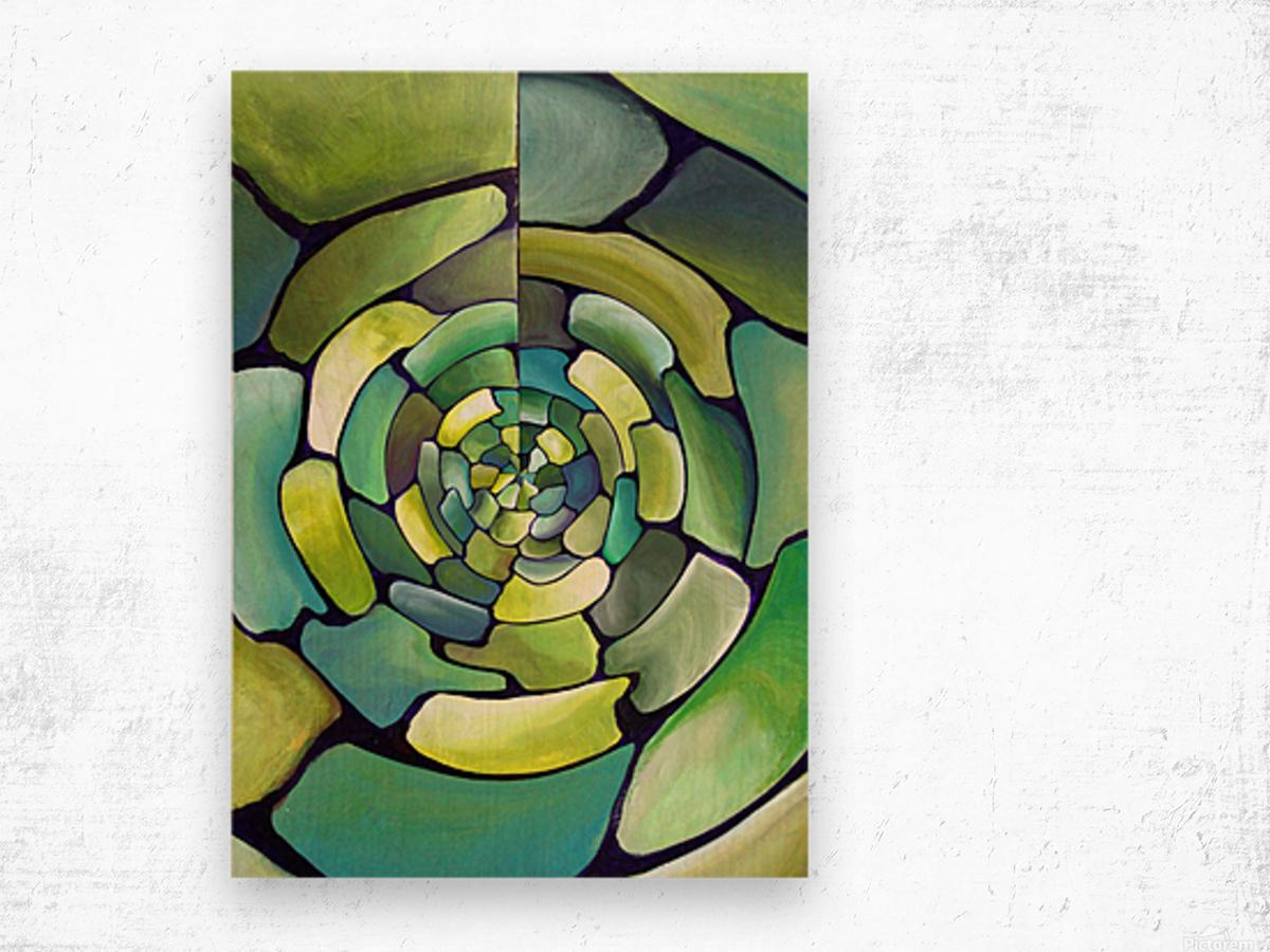 Art Deco_Green _Pattern_displate Wood print